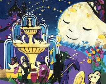 Jazz Night Gardens - tirage limité - chats de reproduction d'Art - nocturne Art de Brighton - Illustration de chat - impression
