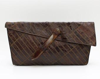 Art Deco Reptile Skin Clutch - Vintage 1940s Leather Handbag