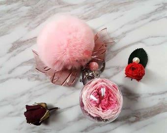 Pink Austin rose Keyring / Pink pompom