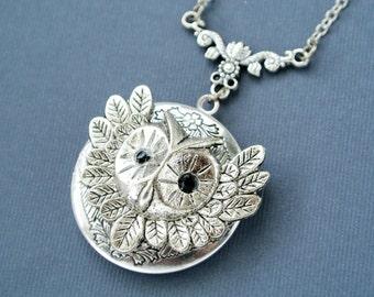 Owl Locket, Owl Locket Necklace, Owl Photo Locket Jewelry, Owl Jewelry Necklace, Owl Pendant Necklace