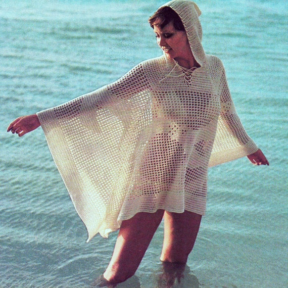 Instant Download Pdf Vintage Crochet Pattern Hooded Beach Cover Up
