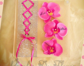 Guest book wedding corset, rhinestone and Orchid color choice to customize