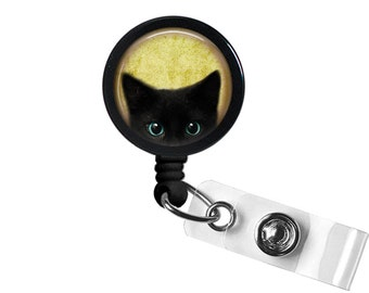Black Cat Photo Glass/ Bottle Cap Retractable ID Badge Reel