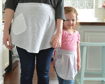 Baking on a Cloudy Day Aprons - Gray Eyelet Half Apron, Women, Girl, Mommy and Me Aprons, Vintage, Apron Set, Mother and Daughter