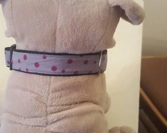 Dog collar  grey with purple spots