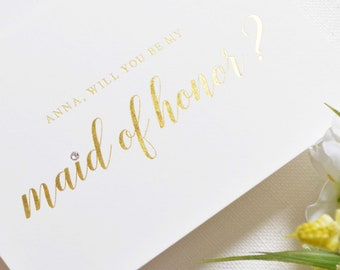 Personalised Will You Be My Maid of Honor Card - Maid of Honor Proposal Card - Be My Maid of Honor - Gold Foil Pressed Maid of Honor Gift