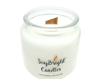 SoyBright™ Orange Spice All Natural Soy Wax Apothecary Jar Candle   Crackling Wooden Wick   Eco-Friendly   Scented   No Phthalates - 16 oz