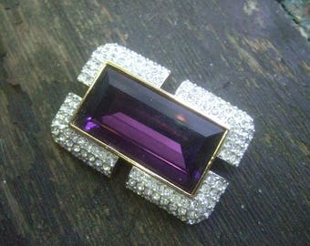 Elegant Amethyst Crystal Brooch by Napier c 1980s