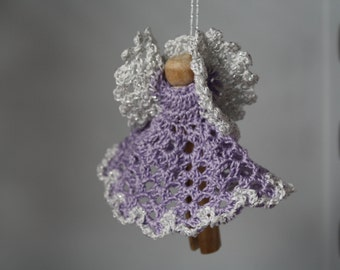 Purple Crocheted Clothespin Angel