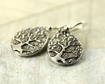 Silver Tree-of-life Dangle Earrings. Tree Of Life Drops | Nature inspired | Patina Silver | Drop Earrings