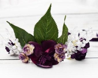 Woodland Fairy Flower Crown - Ethereal Wedding Hair Wreath - Pearl Flower Crown - Crystal Leaf Headband - Purple Flower Crown - Adult Halo
