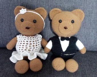 Crochet teddy bears, wedding gifts, toys