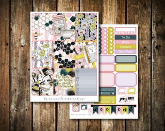 Bees, Honey, Work, Money // BASICS KIT // Weekly Planner Sticker Kit (50+ Stickers)