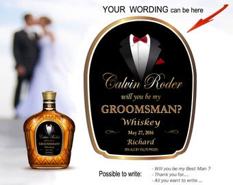 Will you be my groomsman label. Custom wedding bottle labels. Best man gift ideas. Custom whiskey labels. Mini bottle labels. Personalized