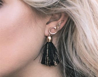 Curved Ear Crawlers - Gold Ear Climber - Crystal Ear Sweep Earrings - Long Ear Cuff - Long Climber Earrings - Gold Ear Cuff -