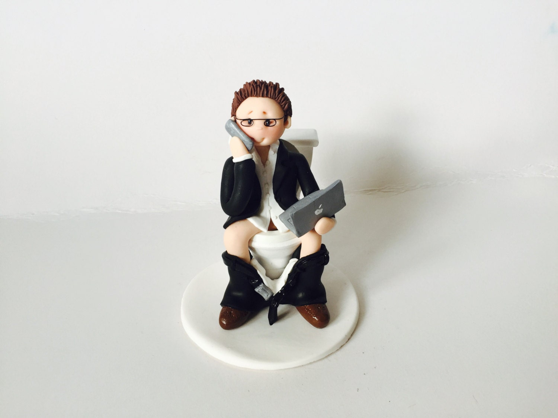 Internet Addict Funny Birthday Cake Topper IT Man Boy glued