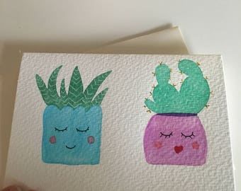 Two plants hand painted card