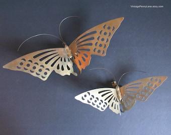 Vintage Messing-Schmetterling-Skulpturen, Schmetterlinge Wandkunst, Wandbehänge, Wand-Dekor, Boho Böhmische Dekor