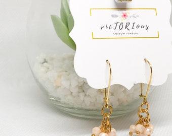 Bead cluster dangle earrings