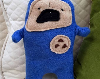 "Butters - The ""Snackie Time"" Pug-Jama Party Bummlie ~ Stuffing Free Dog Toy - Ready To Ship Today ~ Blue Pajamas"