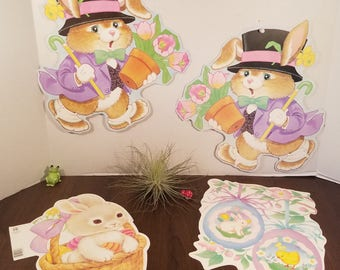 Vintage Easter Die Cuts // Set of 4 // Spring Decor // Easter Bunny // Holiday Banner // Easter Decor