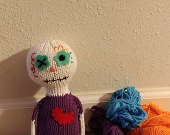 SWEET!  Dia de los Muertos hand knit soft toy friend - 100% cotton plush stuffed monster Day of the Dead, sugar skull, original design