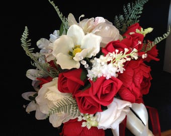 Red and white bouquet,Hand tied bouquet red and white,Mixed flower bouquet red and white,White and red bridal bouquet,Large Bridal posy red