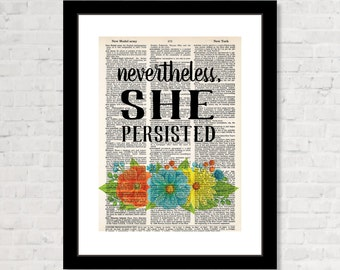 Nevertheless She Persisted - Elizabeth Warren - Letlizspeak - Womens Rights - Eco Friendly -   Dictionary Page Art