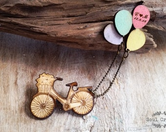 Bicycle Balloon brooch Personalized pin Just Married Wedding Bridal Shower Anniversary Bridesmaid gift Rustic wedding engraved Wooden Brooch