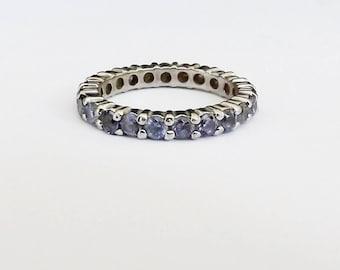 Tanzanite Sterling Silver Ring Old 925 Multi Gemstone Eternity Stack Band Ring Infinity Eternal Love Wedding Bridal Size 8.75