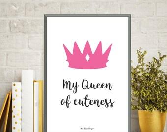 Poster quote baby, Princess poster, Baby illustration, Nursery art print, Children poster, Kids room decor, Baby gift, Quote baby, Art print