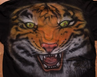 Wayne Grund Tiger Control System T-Shirt, M, Vintage 1980s-1990s, Professional Hair Products, Hand-Painted/Airbrushed Graphic Tee, Surface