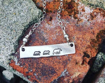 Personalized mama bear and cubs necklace-custom necklace for mom- handstamped sterling silver- sterling bar necklace- mama bear jewelry