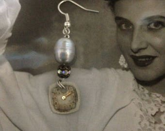 A STITCH in TIME vintage assemblage gray cultured pearl vintage assemblave watch face dangle earrings, upscaled/repurposed , mixed media
