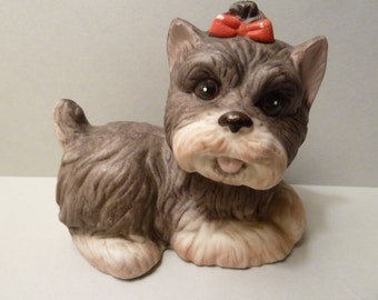 Figurine by: Homco, #1475, Yorkshire Terrier? Pup,