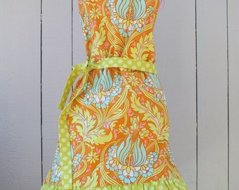 Girls Apron in Lime Floral Fabric fits ages 7/8