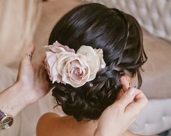 Pale Pink Flower Hair Piece, Dusty Pink Wedding Floral Hair Clip, Bridal Flower Headpiece, Lilac Hair Flower Clip Rustic wedding hair piece