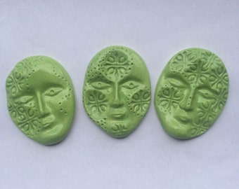 3 Handcrafted Lime Green Ceramic Tile Faces Can Be Used For Mosaics And Other Mixed Media Projects