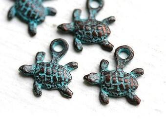6pc Tiny Turtle charms, small baby turtles, green patina, Greek metal casting beads, metal turtle, nautical beach jewelry - F019