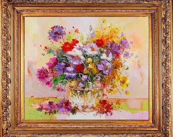 """Framed Beautiful Impressionist Painting Oil On Canvas Signed """"Bouquet and Vase"""" 28"""" x 32"""""""