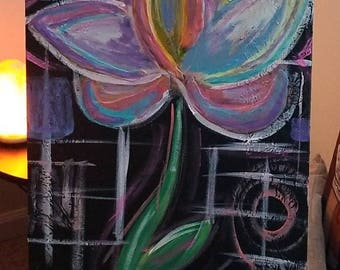 Consider the lotus.  16x40in mixed media on canvas.
