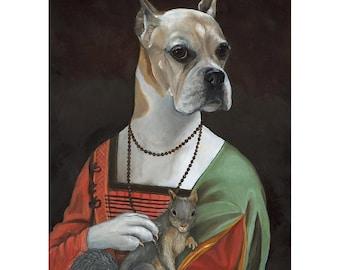 Boxer Art Prints, Kenzie the Boxer Vintage Dog Portrait, Boxer Gifts