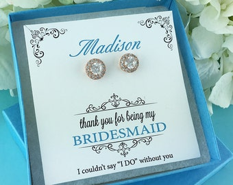 Bridesmaid Rose Gold Earrings, stud cubic zirconia earrings, Bridesmaid Jewelry Gift, Ansley Small Bridesmaids Rose Gold Studs