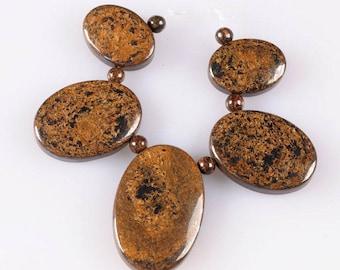 g2272 18mm to 30mm Bronzite graduated oval beads pendant beads set