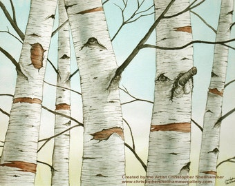 Birch Trees in Autumn large original watercolor painting by Award Winning Artist Christopher Shellhammer