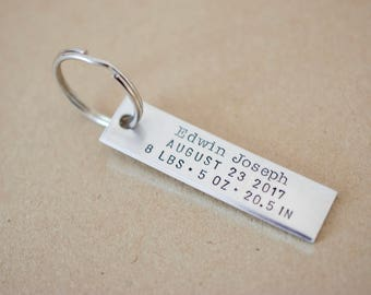 Birth Announcement Keychain - Personalized Baby Stats Keychain