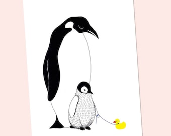 Party Animal Penguin with baby, congratulations greeting card. Illustrative stationery, birth announcement, baby