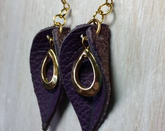 Purple Leather Leaf Dangle Lightweight Earrings With14K Gold-Filled Ear wires