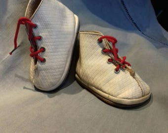 Vintage French White Leather Baby Boots