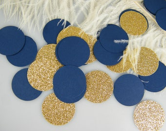 Nautical Confetti Navy and Gold |  Navy Wedding Party Decoration | Nautical Baby Shower Table Decoration | Circle Glitter Confetti